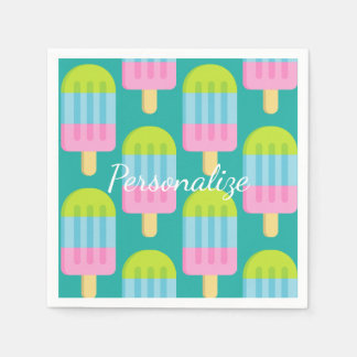 Colorful popsicle ice cream print paper napkins
