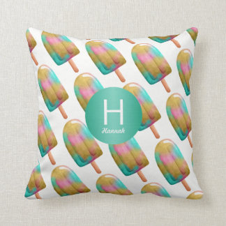 Colorful Popsicle Pattern with Your Monogram Throw Pillow
