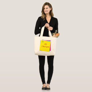Colorful Post it Notes with PS I Love You Message Large Tote Bag