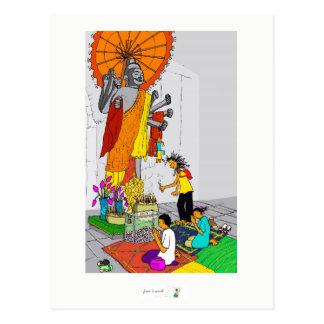 Colorful postcard buddhist temple Cambodia