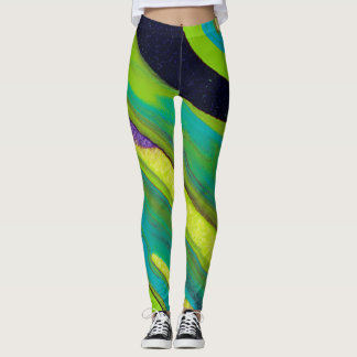 Colorful Poured-Paint Abstract - Leggings