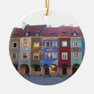 Colorful Poznan little medieval houses Ceramic Ornament