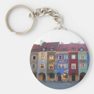 Colorful Poznan little medieval houses Keychain