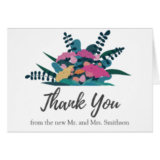 Colorful Pretty Chic Flowers Wedding Thank You Card