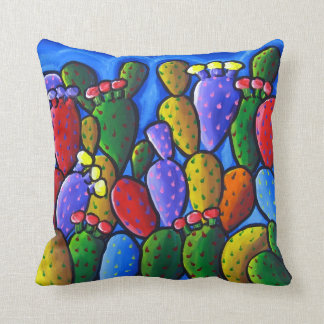 Colorful Prickly Pear Cactus Folk Art Pillow