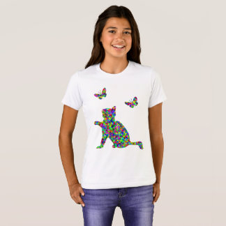 Colorful Prismatic Cat And Butterflies Girls Shirt