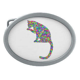 Colorful Prismatic Cat Licking Paw Oval Belt Buckles