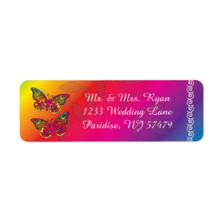 Colorful Psychedelic Butterfly Designs Return Address Label