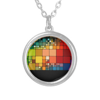 Colorful psychedelic silver plated necklace