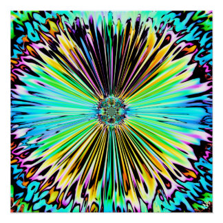 Colorful psychedelic sketch of a flower 2 poster