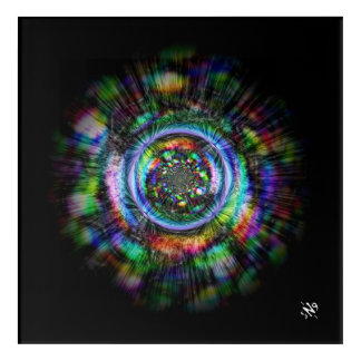 Colorful psychedelic sketch of an eye acrylic wall art