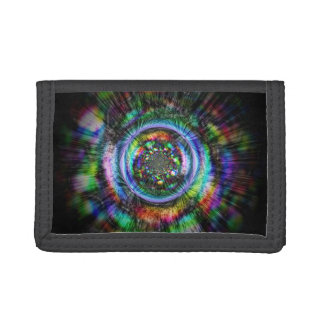 Colorful psychedelic sketch of an eye tri-fold wallet