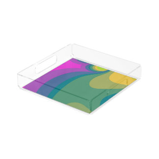 Colorful Psychedelic Swirls Acrylic Tray