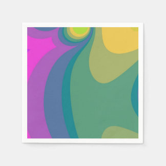 Colorful Psychedelic Swirls Disposable Napkins