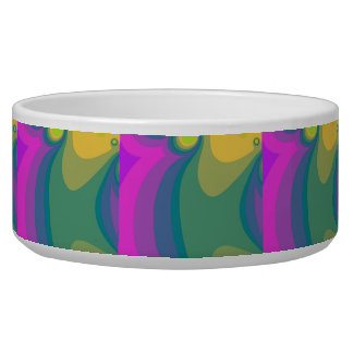 Colorful Psychedelic Swirls Dog Food Bowls
