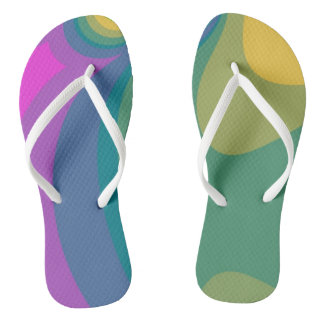 Colorful Psychedelic Swirls Flip Flops
