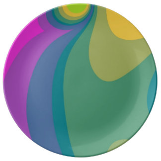 Colorful Psychedelic Swirls Plate