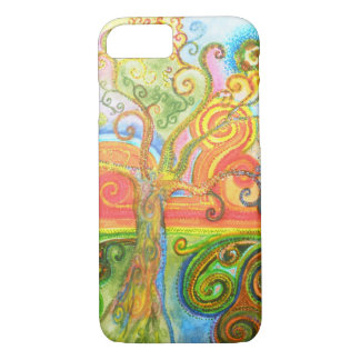 Colorful psychedelic swirly tree iPhone 7 case