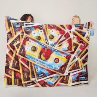 Colorful Psychedelic Tie Dye Money Satin Fleece Blanket
