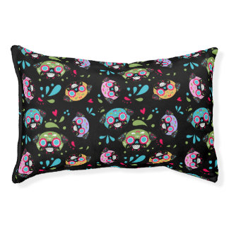 Colorful Pug Sugar Skulls Pattern Small Dog Bed