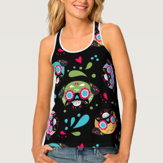Colorful Pug Sugar Skulls Pattern Tank Top