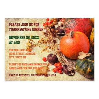 Colorful Pumpkins - 3x5 Thanksgiving Dinner Invite