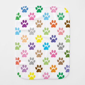 Colorful puppy paw prints burp cloth