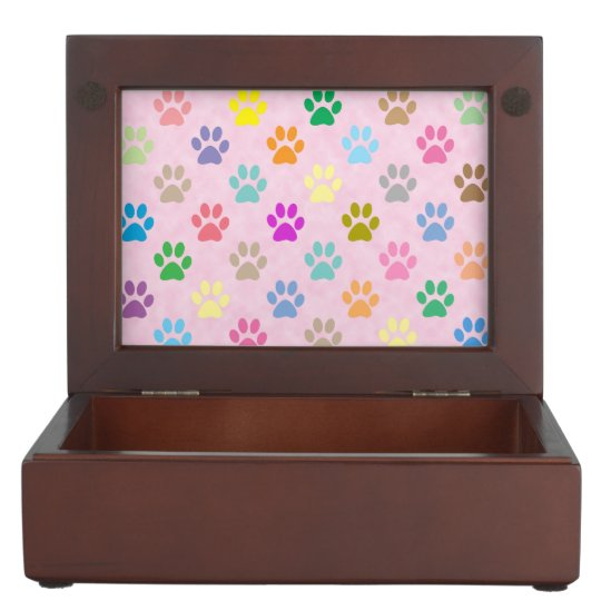 Colorful puppy paw prints memory box