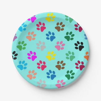 Colorful puppy paw prints paper plate
