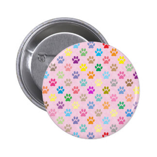 Colorful puppy paw prints pattern 2 inch round button