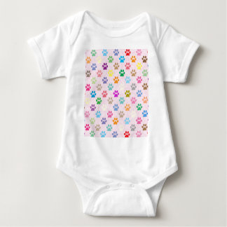 Colorful puppy paw prints pattern baby bodysuit