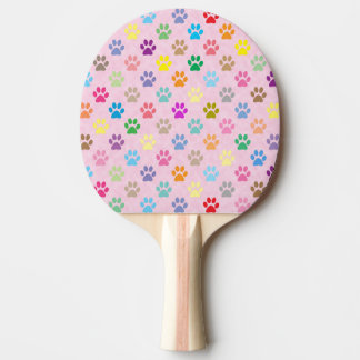 Colorful puppy paw prints ping pong paddle
