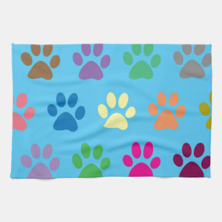 Colorful puppy paws print kitchen towel