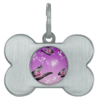 COLORFUL PURPLE BUTTERFLIES PET ID TAG