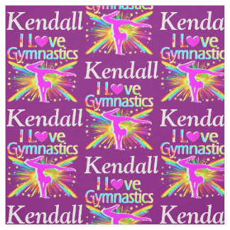 COLORFUL PURPLE I LOVE GYMNASTICS FABRIC
