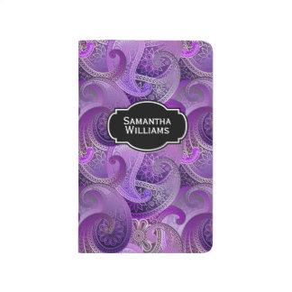 Colorful Purple Paisley Pattern with Monogram Journal