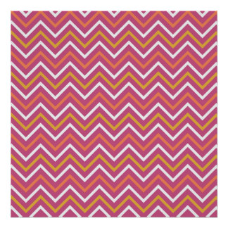Colorful Purple Peach Orange White Chevron Stripes Poster