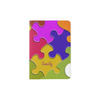 Colorful Puzzle Fun Novelty Passport Holder