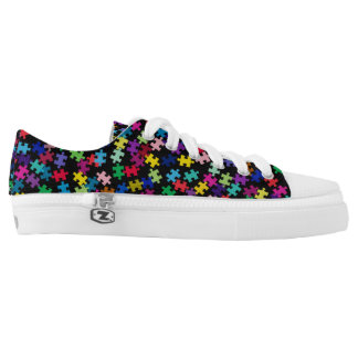 Colorful Puzzle Pieces Autism Awareness Low-Top Sneakers