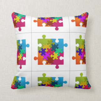 Colorful Puzzles Fun Novelty Throw Pillow