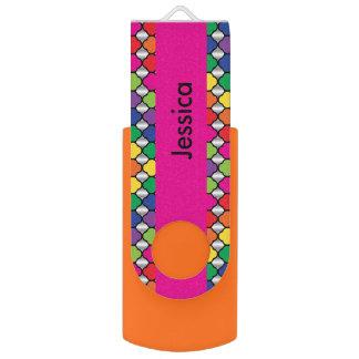 Colorful Quatrefoil Pattern | DIY Name Swivel USB 2.0 Flash Drive