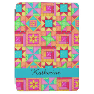 Colorful Quilt Patchwork Block Name Personalized iPad Air Cover