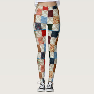 Colorful quilt pattern leggings