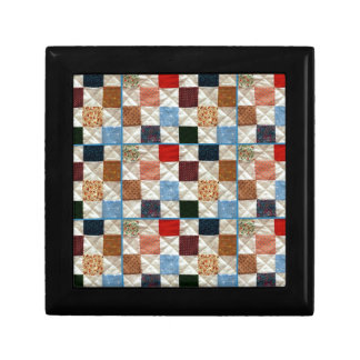 Colorful quilt squares pattern gift box
