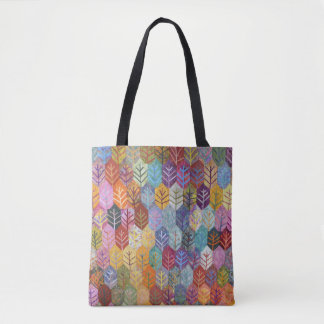 Colorful Quilted Leaf Pattern Tote Bag