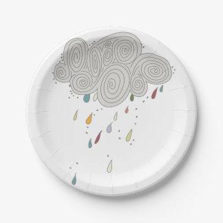 Colorful Rain Cloud Paper Plates