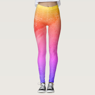 Colorful Rainbow Abstract Painting - Leggings