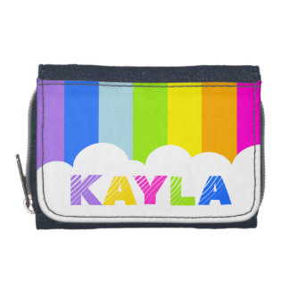 Colorful rainbow and cloud name wallet