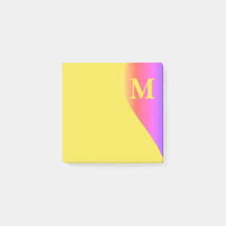 Colorful Rainbow and Yellow with Monogram Post-it® Notes
