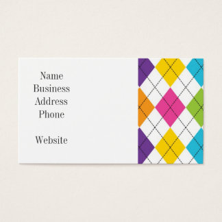 Colorful Rainbow Argyle Diamond Pattern Teen Gifts Business Card